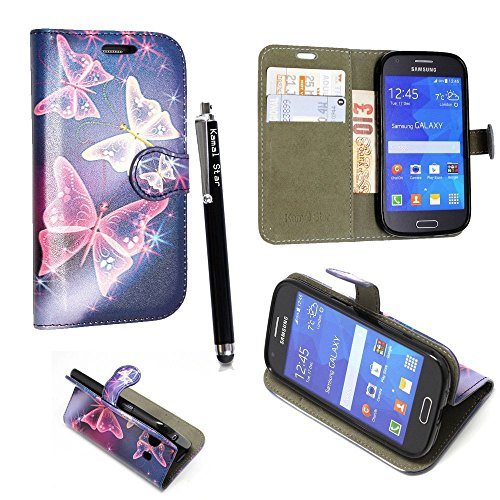 GSDSTYLEYOURMOBILE {TM} Samsung Galaxy Ace Style SM-G310 PU LEDER LEATHER FLIP CASE COVER HÜLLE ETUI TASCHE SCHALE + STYLUS (Sparkling Butterfly Book)
