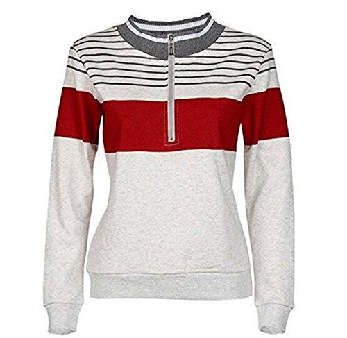 Gogofuture Sweatshirt Femme Patchwork Rayures Imprimé Manches Longues Zip Col Rond Décontractée Tops à Sweats Mode Pullover Kaki