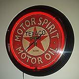 NEONUHR Ø 38 cm NEON CLOCK - TEXACO MOTOR SPIRIT - MOTOR OIL - SIGN WANDUHR BELEUCHTET MIT ROTEN NEON RING! RAHMEN IN SCHWARZ!
