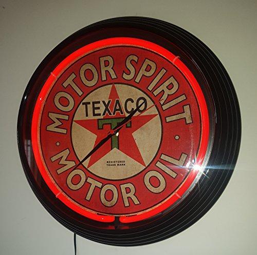 Neon Montre Ø 38 cm Neon Clock – texaco Motor Spirit – Motor Oil – Sign Horloge murale avec indicateur lumineux rouge fluo Ring. Rahmen in schwarz.