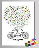 NOVAGO Kundengebundene Fingerabdruckmalerei für Hochzeit, Jahrestag, Geburtstag, Taufe, Kommunion (30 X 40, Fahrrad)
