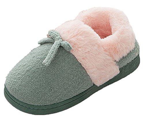Minetom Damen Herren Unisex Baumwolle Pantoffeln Winter Warm Innen Hausschuhe Mode Paar Schuhe Mit Bowknot Grün EU 35