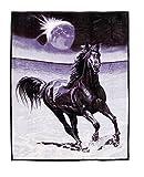 Pferd Animal Überwurf Fleece Bettüberwurf Bett Sofa Decke SOFT schwarz Luxus 150x 200cm