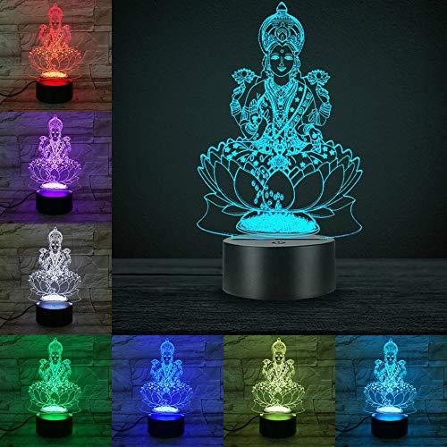 Hinduismus Supreme Deities 3D Lampe Farbwechsel Touch Fernschalter Glasfaser Licht Bea Home Desk Dekoration