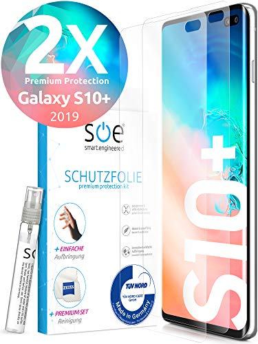 [2 Stück] 3D Schutzfolien kompatibel mit Samsung Galaxy S10 Plus - [Made in Germany - TÜV] - Hüllenfre&lich - Transparent - Selbstheilend - kein Glas sondern Panzerfolie TPU
