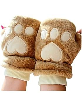 TININNA Inverno carina bear paw peluche senza dita Guanti mezzi dita Guanti per donne ragazze Brown