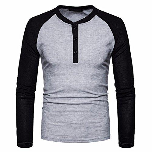 Sweatshirt Herren Longra Herren Kontrast Shirt Langarmshirt Mischfarbe Urban Basic Reguläre Longsleeve T-Shirt Männer Super Premium Langarm T-Shirt (XL, Gray) (3-tasten-sweatshirt Für Männer)