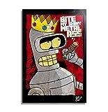 Arthole.it Bender da Futurama (Matt Groening) - Quadro Pop-Art Originale con Cornice, Dipinto, Stampa su Tela, Poster, Locandina