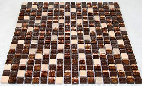 Fliesen Mosaik Mosaikfliesen Glas glänzend Kupfer Bad WC Küche 8mm Neu #S09 - Kupfer-mosaik-glas