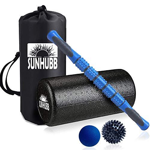SunHubb Massageroller-Set mit Schaumstoffroller, 30,5 cm, hochdicht, Muskelschaum, Lacrosse, Stachelbälle, Reisetasche, Physiotherapie und Übung, Tiefengewebe, Oberschenkelmuskulatur -
