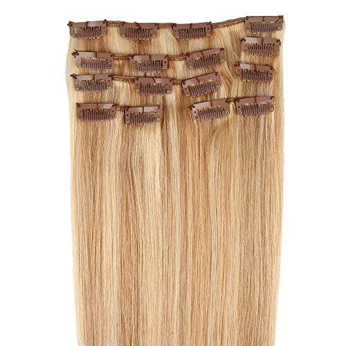 Beauty7 - 7 Tressen Echthaarsträhnen Remy Echthaar Haarverlängerung Haarverdichtung Haarteil 50cm Echthaar Extensions 70g hochwertiges Haare 20 Zoll in Honigblond und Lichtblond 27/613