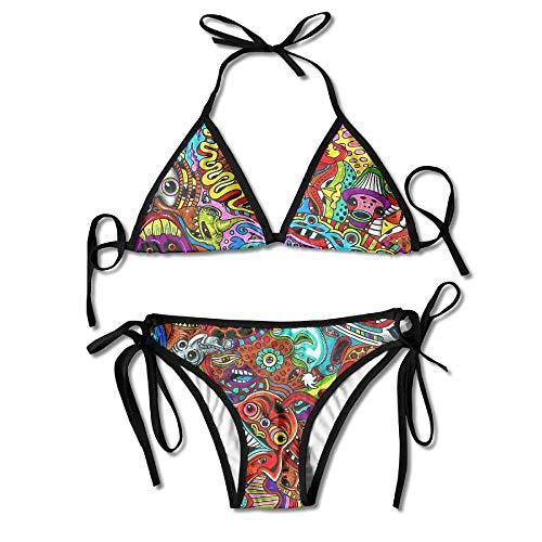 Fashion Women Psychedelic Devil Art Printing Sexy Two-Piece Bikini Set Beach Bathing Suit Cute Devil Girl