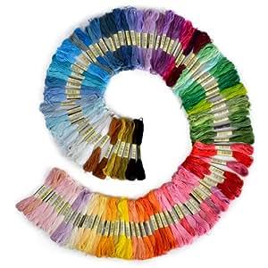 Lot de 100 écheveaux de fil à broder 100 % coton Assortiment de couleurs