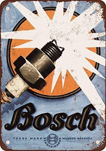 Monsety 1926 Bosch Zündkerzen Vintage Look Reproduktion Neuheit Schild Geschenk Yard Dekoratives Aluminium Metallschild -
