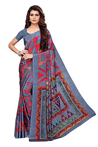 Indira Designer Crepe Saree with Blouse Piece (Aakruti-330-1_Grey_Free Size) Crepe Saree