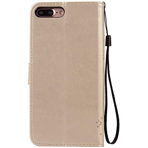 iPhone 5s / iPhone se / iPhone 5 Hülle,MOONESS Stand Hülle Schutzhülle PU Leder Flip Tasche Case mit Karte Halter und Magnetisch Flip Bumper Ledertasche(Grün) Gold