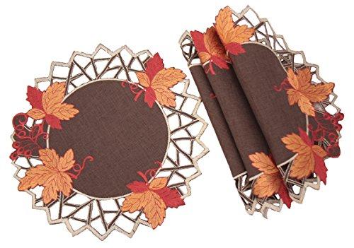 Xia Home Fashions xd160908Ernte Hues Bestickt Cutwork Fall Deckchen, 30,5cm rund, Set 4 - Doily Fall