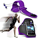 (Dark Purple + Ohr Telefon 154 x 74) BBLU Vivo 6 Fall Spannbettlaken Sports Armbinden Running Bike Radfahren Fitnessstudio Joggen befreit Arm Band Case Cover mit Case in Ear Buds Stereo-Hände Kopfhörer Headset Mikrofon und On-Off-Button Ausgestattet von i-tronixs