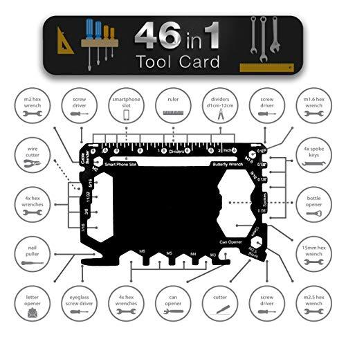 Multi herramientas Tamaño de la tarjeta con caso | Set de billetera de gadget Regalo para los hombres 46 en 1 kit de bolsillo | Accesorios de multiherramientas para acampar al aire libre