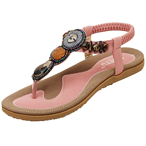 Azbro Women's Fashion Bohemia Summer Beaded Clip Toe Sandals Pink