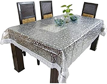 Kuber Industries™ Dining Table Cover Transparent 3D 6 Seater 60*90 Inches  (Silver