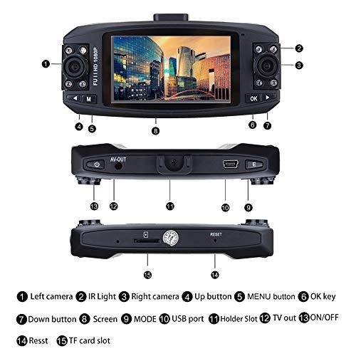 Pzhhzpingg Videorecorder HD 1080p Dual Lens Car DVR Video Autozubehör Dash Cam Recorder Camera G-Sensor Night Vison (Schwarz) (Video Catcher)