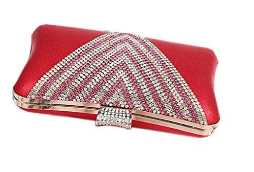 Damen Perlen Hochzeit Staubbeutel Party Geldbörse Ball Kupplung, Pink - rose - Größe: rot