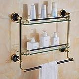KTMK Antik schwarz Gold Edelstahl Badezimmer Zubehör Handtuch Regal Handtuch Bar Papierhalter Tuch Haken Seifenschale, Doppel Regal