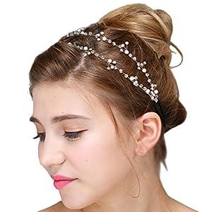 FAYBOX BRIDAL Vintage Braut Tiara Crystal Strass Perlen Haarreif Hochzeit Prom Haarschmuck
