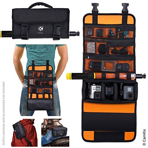 CamKix bolsa enrollable con cintura / correa de hombro para GoPro Hero y otras acciones / cámaras compactas - Múltiples opciones de transporte (mano, hombro, cintura, espalda) - Estuche inteligente - Ajuste en el compartimento principal.