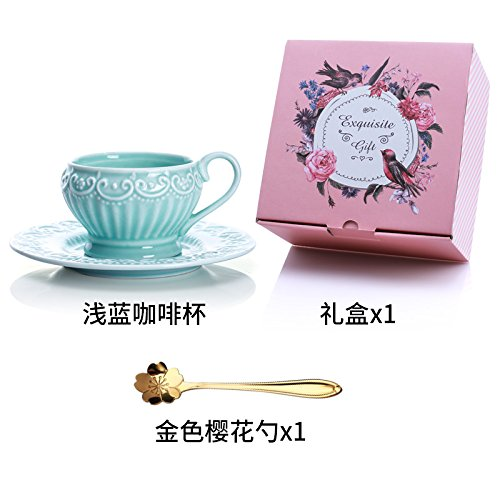 LOYWT reizende Prinzessin Wind Spitze Geprägte Espressotasse Europäische Retro Keramik Afternoon Tea Cup, Blue Cherry Blossom Löffel (Prinzessin Cherry Blossom)