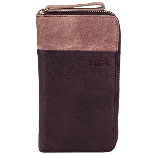 Zwei Reißverschluss-geldbörsen (Zwei Eva EV2 Reißverschluss Geldbörse Portemonnaie Geldbeutel Brieftasche, Farbe:Wine)