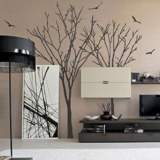 amazing sticker Wandtattoo/Wandsticker Vögel und Bäume L grau