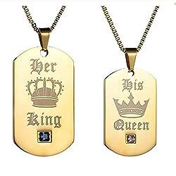 Gkmamrg Weihnachten Geschenke EIN Paar Damen Herren Pärchen Anhänger mit Halskette, Edelstahl Dog Tag Anhänger mit Gravur His Queen und Her King schwarz Weiss ... (Gold)