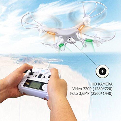 Syma X5C Explorer 2.4 GHz 4-Kanal 3D Quadrocopter Drohne mit Zusatzakku, 360° Flip Funktion, 3.6 MP HD Kamera mit Ton, Motor-STOPP Funktion, 6AXIS Stabilization System, 4GB Micro-SD Speicherkarte und AGETECH SafeFly Sonnenbrille, Weiß - Sonder-Edition - 4
