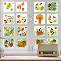 Outivity Fall Leaves Window Clings, Thanksgiving Maple Decorations, Autumn Sticker Decals Party Decor Ornaments (8 Sheets)