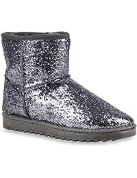 Damen Schlupfstiefel | Warm Gefütterte Stiefel | Stiefeletten Kunstfell Boots | Glitzer Schuhe Strass | Nieten Blumen Profilsohle | Flandell®