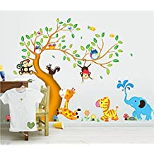 Ufengke® Cartone Animato Albero Felice Animali con Gufo Scimmie Zebra Giraffa Adesivi Murali, Camera Dei Bambini Vivai Adesivi da Parete Removibili/Stickers Murali/Decorazione