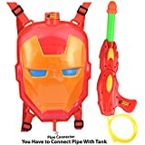 Zest 4 Toyz Holi Water Gun with High Pressure Holi Pichkari with Back Holding Tank, Holi -Ironman Face