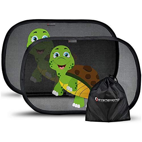 Systemoto Sonnenschutz Auto Baby mit Zertifiziertem UV Schutz (2er Set) - Selbsthaftende Sonnenblenden für Kinder mit süßen Tier Motiven (Turtle)