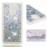 Huawei Honor 7 Hülle Fanxwu Glitzer Flüssig Bewegende Treibsand Handyhülle Ultra Dünn Luxury Glitzer Mode Clear Schteine kristall TPU Silikon Stoßfest Schutzhülle-Silber