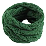 Einfarbiger Loop Schlauchschal, Winter Herbst Warmer Strick Loop Schal, Herren-Schal und Damen-Schal, Unisex (Grün)