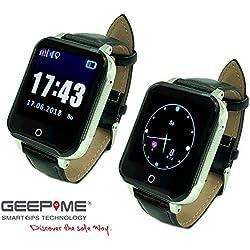 GeepMe GP3 Smartwatch (schwarz-rot) - GPS Seniorenuhr, wasserdicht(IP67),Tracking, Geofence, SOS Notruf, Blutdruck-/Pulsmessung, Telefon, dt. kostenlose APP/dt. Service, (OHNE Abhörfunktion)