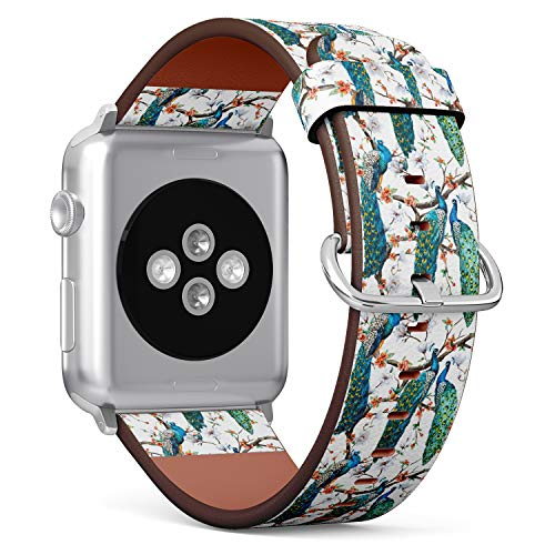 R-Rong kompatibel Watch Armband, Echtes Leder Uhrenarmband f¨¹r Apple Watch Series 4/3/2/1 Sport Edition 42/44mm - Watercolor Pattern Peacock Lover and Blooming Cherry Trees Gummi-peacock