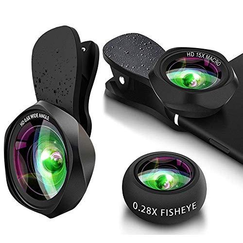 3 in 1 HD Phone Objektiv Set - Handy Lens Clip On Kamera Adapter (0.6X 130° Weitwinkelobjektiv, 15X Makroobjektiv,120° x fisheye objektiv) for IOS & Android usw
