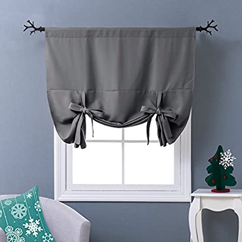 Ponydance Tie Blind Curtain Panels Fashionable Tie Up Shade for Kitchen / Blackout Privacy Protection for Bathroom, 46