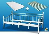 Bett inkl. Matratze und Rollrost 90x200cm. Klassisch zeitloses Metallbett mit