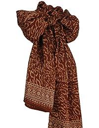 Pure Silk Leopard Spots Batik Scarf in Copper