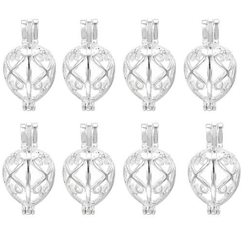 100Schmuck-Herstellung, versilberte Perle Käfig Anhänger–hinzufügen Ihre eigene Perlen, Steine, Rock, zu Käfig, Parfüm Ätherische Öle hinzufügen um ein Duft streuendem Medaillon Anhänger Charms
