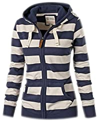 Womens Sweatshirts Stripe Hoodie Pullover Long Sleeve Ladies Oversized Sweat Jumpers Zip Up Zipped Hoodies Tops Casual Warm Female Sweatshirt With Pockets Autumn Winter White Blue